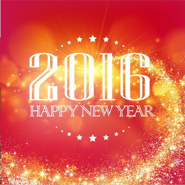 orange red 2016 happy new year background