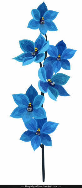 orchid flora icon classical blue decor