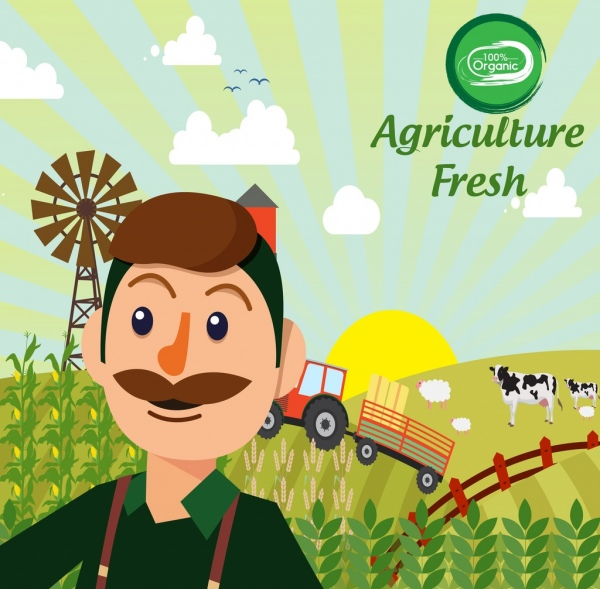 organic agriculture products advertising farmer field icons