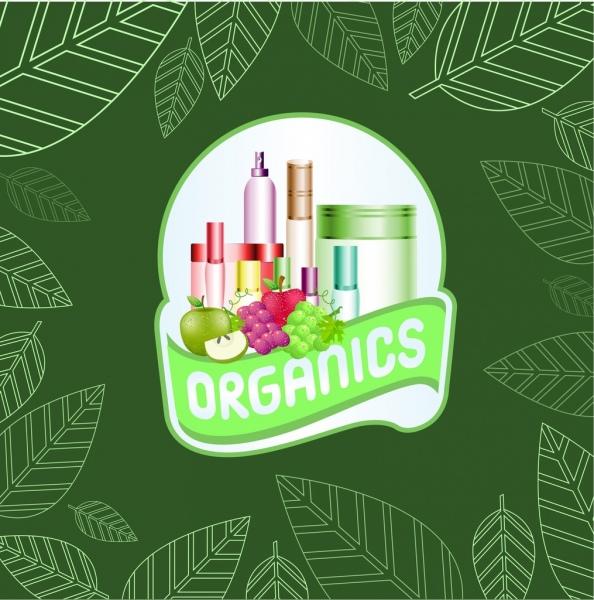 Organic cosmetic advertisement green leaves backdrop fruit