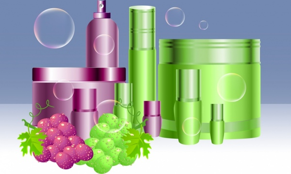 Organic cosmetics advertising colorful 3d decor fruits icons