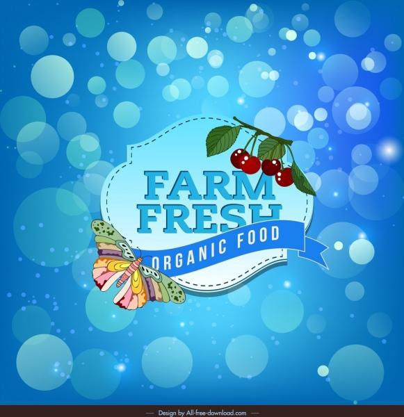 organic food advertising background blue bokeh decor