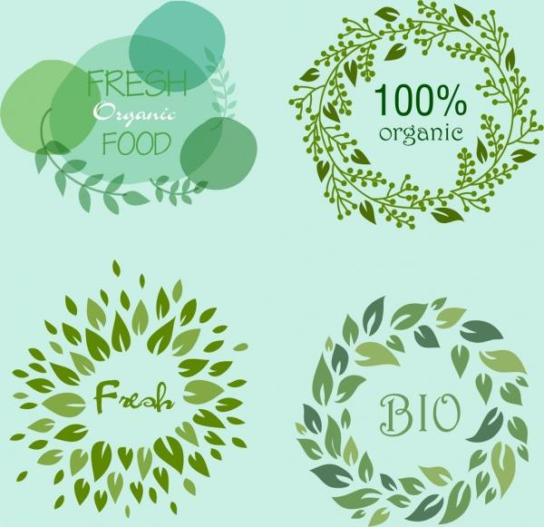 organic food logotypes green leaves circle decor
