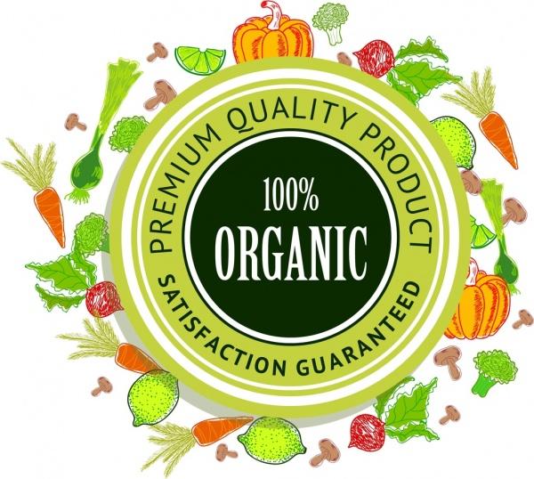 organic food promotion background circle stamp decor
