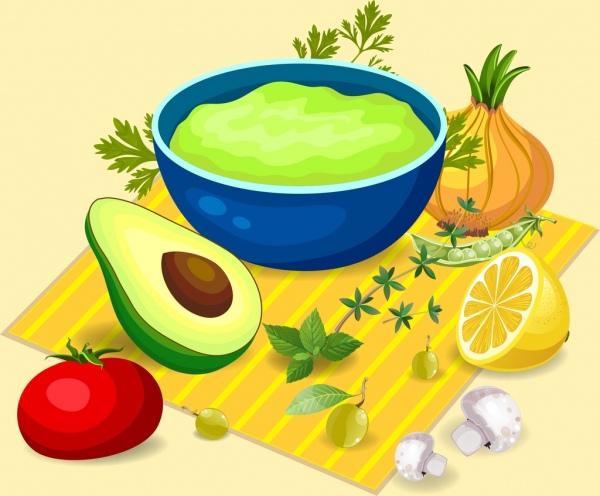 organic fruit advertising avocado onion orange tomato icons