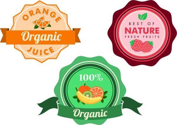 organic fruit juice badges colorful circle decoration