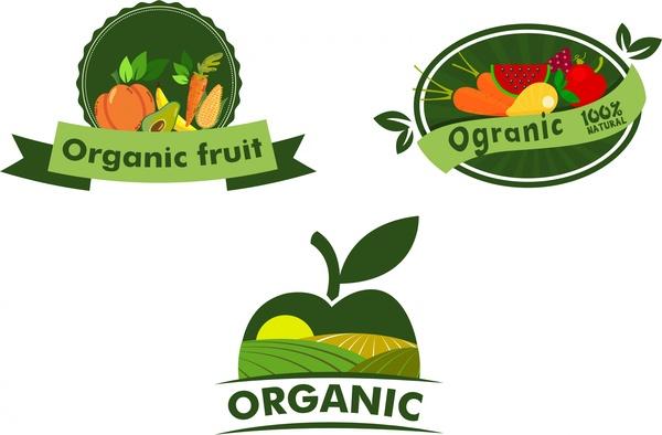Organic fruits logo sets various shaped symbol elements ...