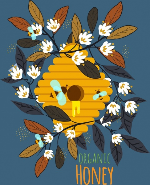 organic honey advertising flowers honeycomb icons
