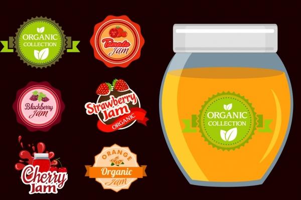 organic jam advertisement various fruit seals icons