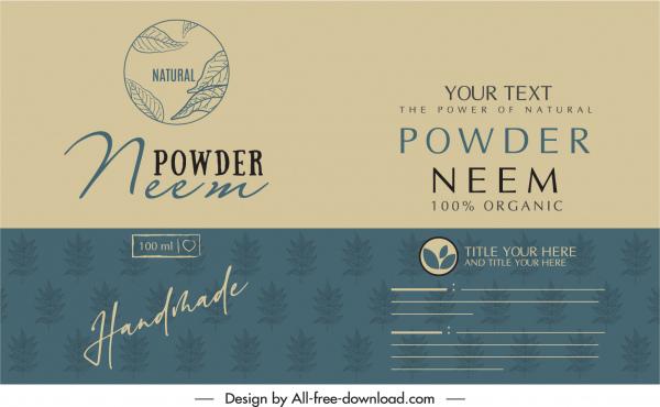 organic powder label template elegant classical leaf logo