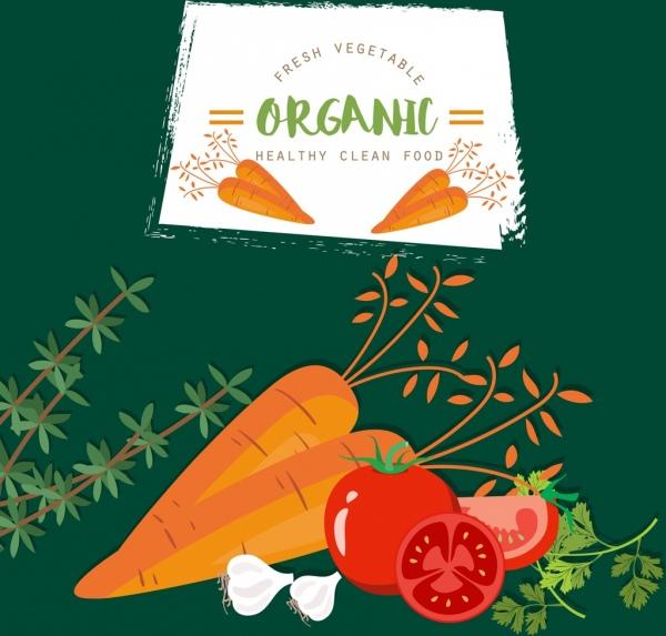 organic vegetable advertising carrot tomato garlic icons