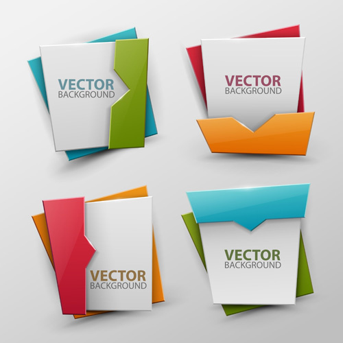 origami colored banners colored vectors