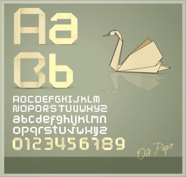 origami creative letters 03 vector