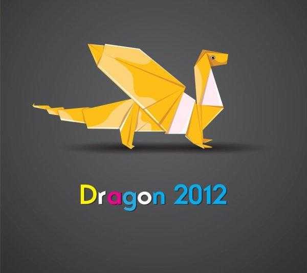 origami dragon 02 vector