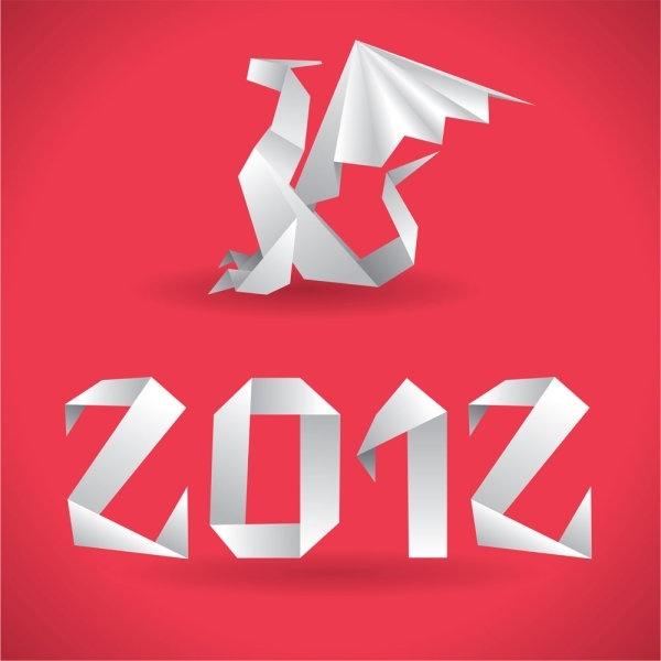 origami dragon 04 vector