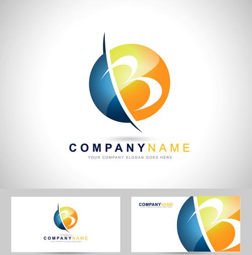 original design logos with business cards vector