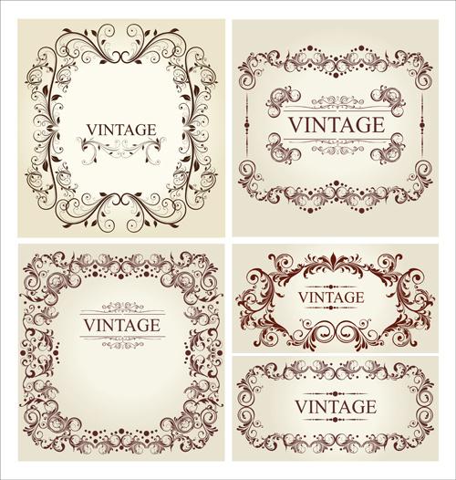 ornament frames vintage style vector