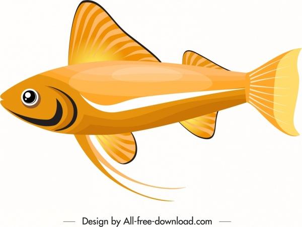 ornamental fish icon bright golden flat decor