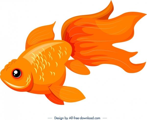 ornamental fish icon bright orange decor
