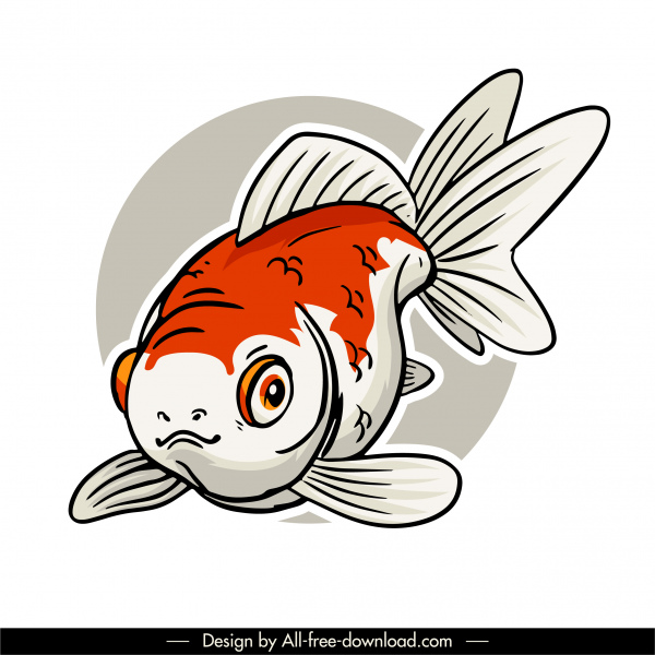 ornamental fish icon classic handdrawn sketch