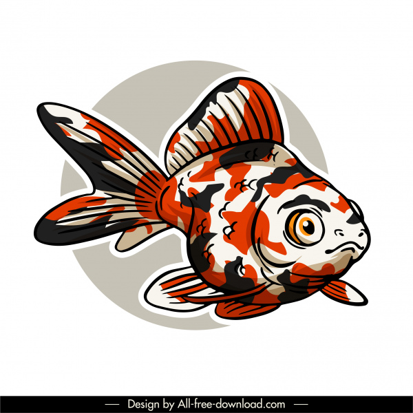 ornamental fish icon classical handdrawn sketch