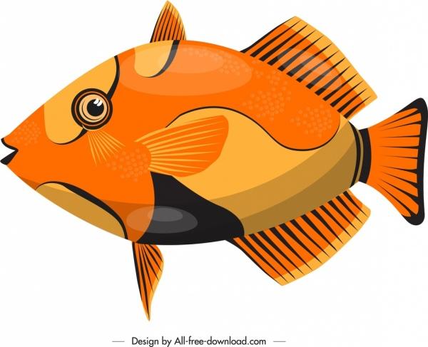 ornamental fish icon colorful modern flat design