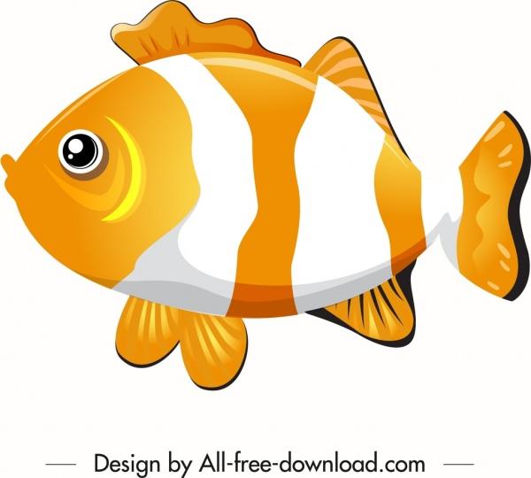 ornamental fish icon cute yellow white sketch