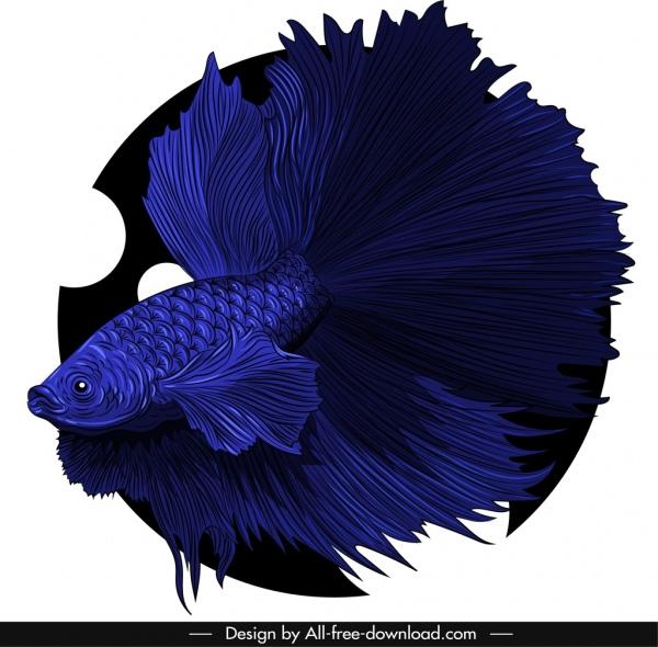 ornamental fish icon dark blue 3d design