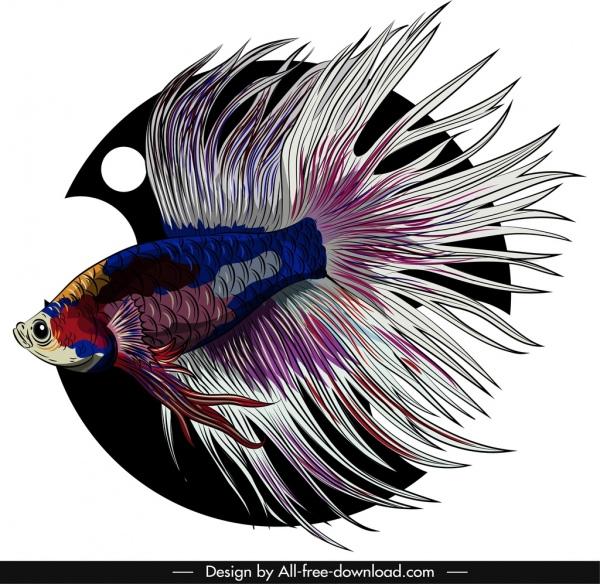 ornamental fish icon elegant gaudy tail sketch