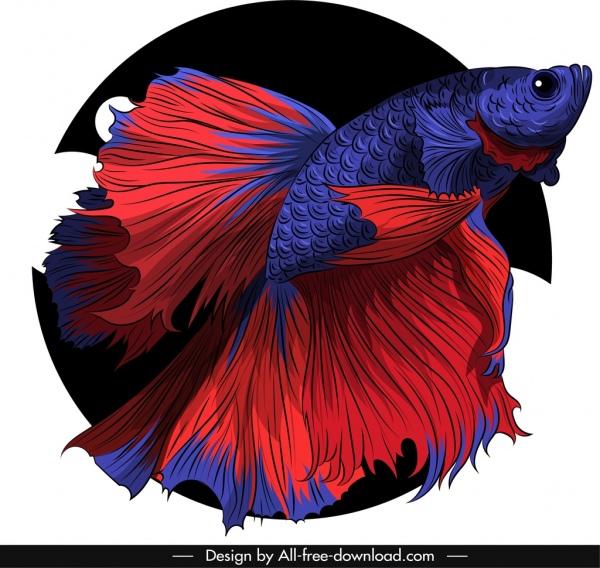 ornamental fish icon red violet sketch 3d design