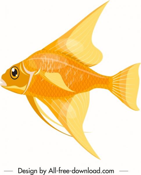 ornamental fish icon shiny golden decor