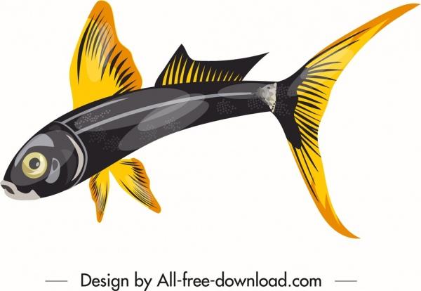 ornamental fish icon shiny yellow black sketch
