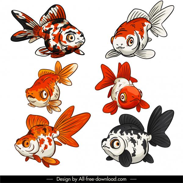 ornamental fish icons classical handdrawn sketch