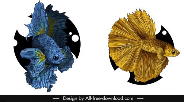 ornamental fish icons elegant blue golden sketch