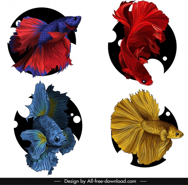 ornamental fish icons elegant motley design
