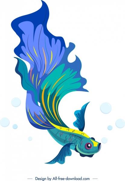 ornamental fish painting bright blue decor