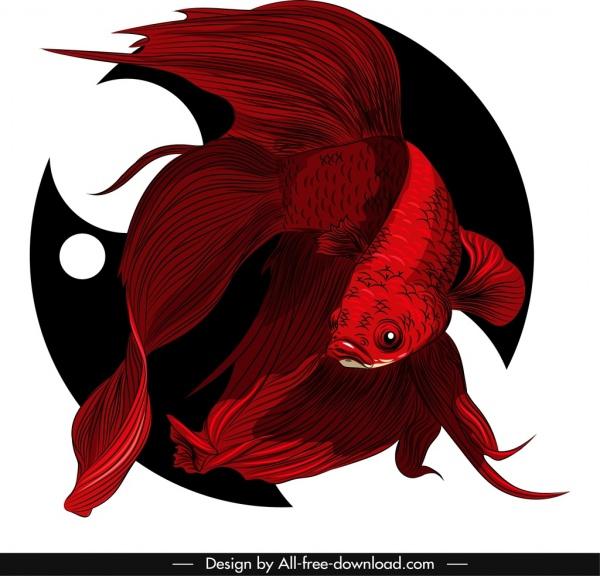 ornamental fish painting dark red showy decor