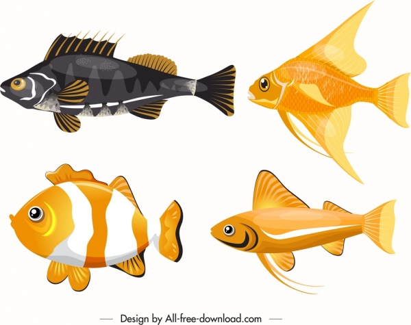 ornamental fishes icons modern colored design