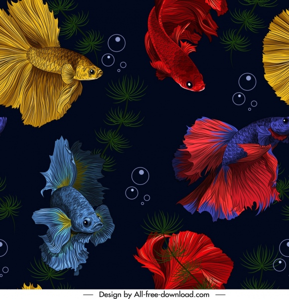 ornamental fishes painting gaudy decor realistic design