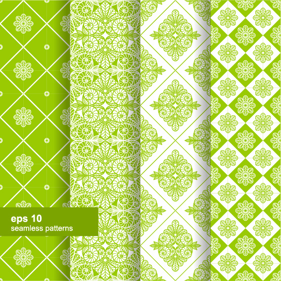 ornaments floral pattern seamless set vector