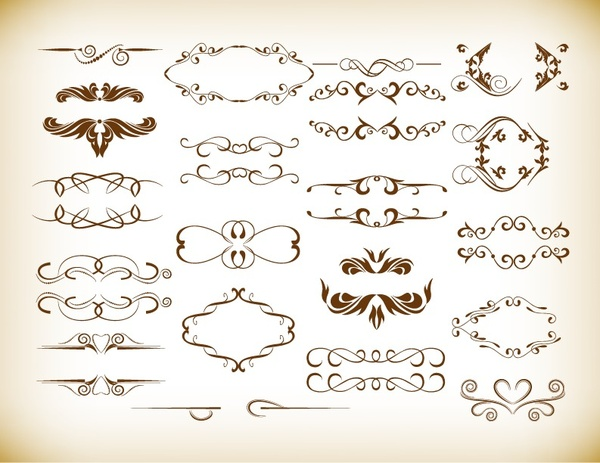 ornate frames and scroll elements vector set