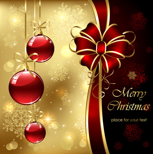 Ornate golden christmas cards vector graphics Free vector ...