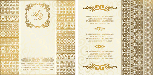 ornate golden invitations design free vector in adobe illustrator ai
