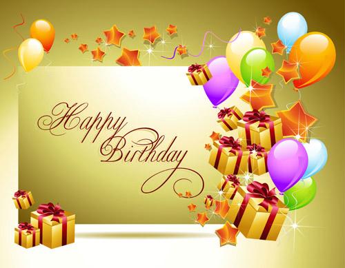 Ornate Happy Birthday Postcards Design Vector Set Free Vector In