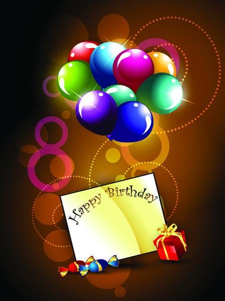 ornate happy birthday postcards design vector set