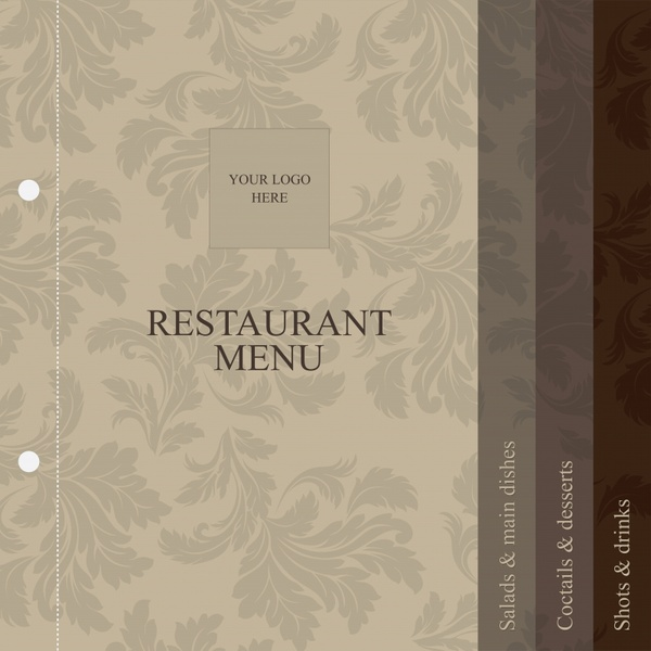 menu cover template classical leaf decor repeating design