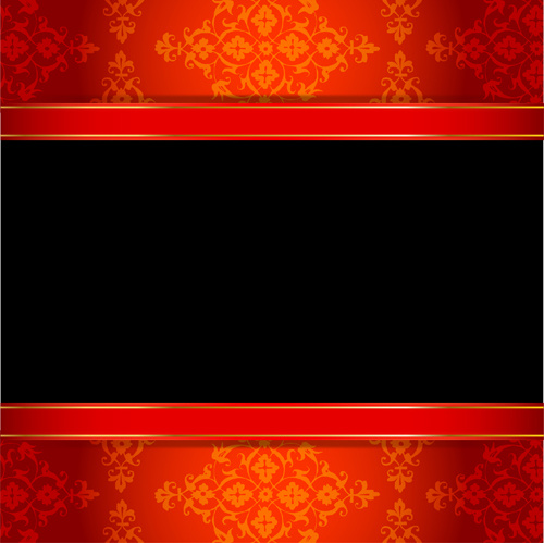 ornate red with black background vectors