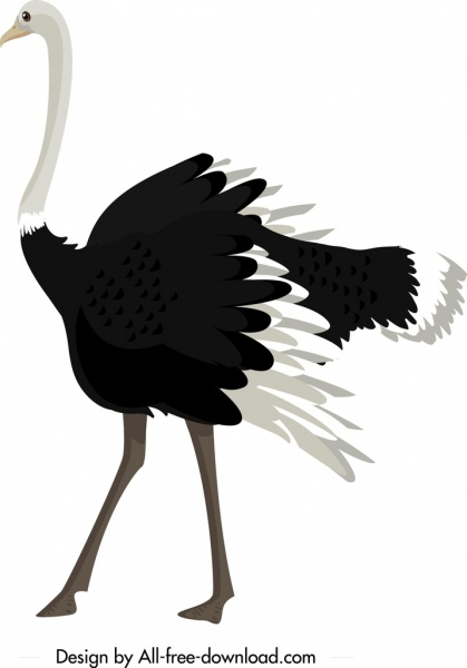 ostrich icon black white cartoon character sketch