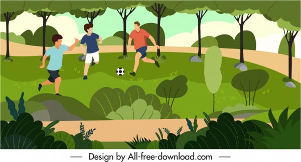 outdoor activity painting park soccer sketch cartoon design