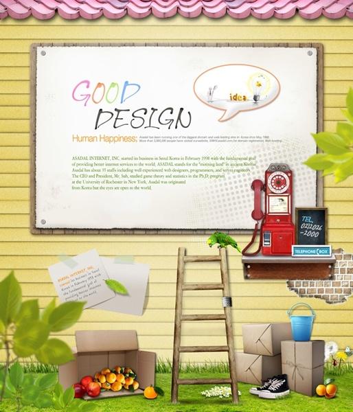 outdoor advertising cartoon style bar psd